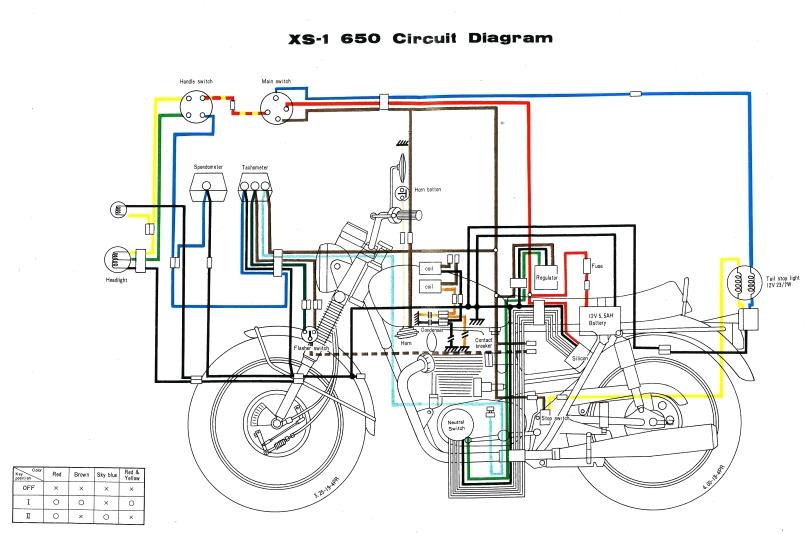 Xs Wiring Diagram on Yamaha Xs650 Wiring Schematic