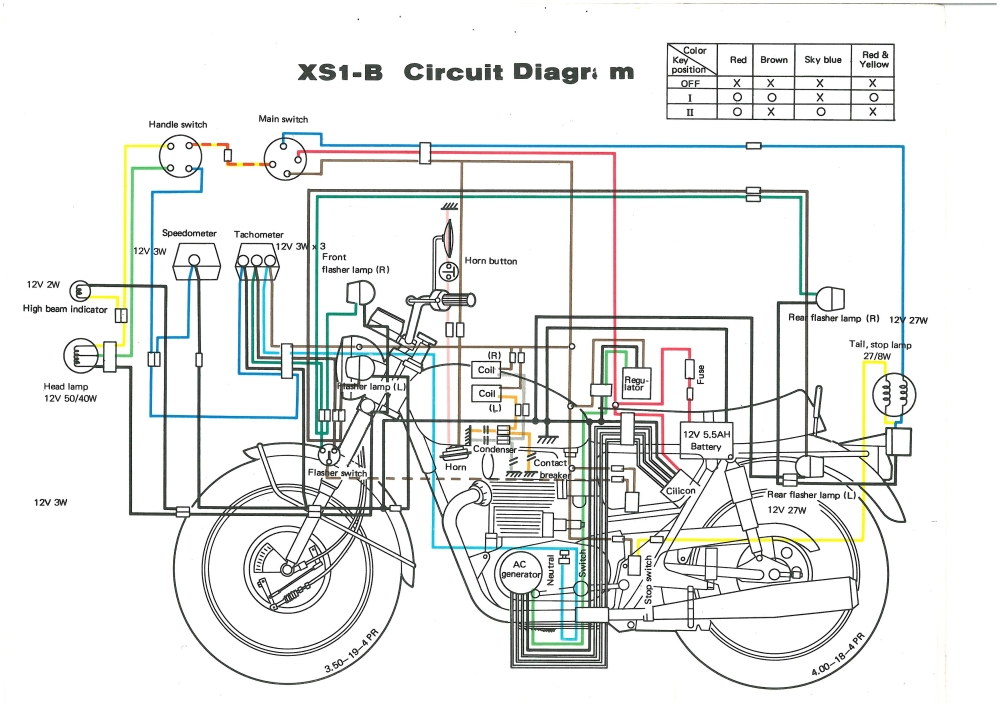 Xs650 Wiring Diagram Color : Xs b wiring diagram thexscafe