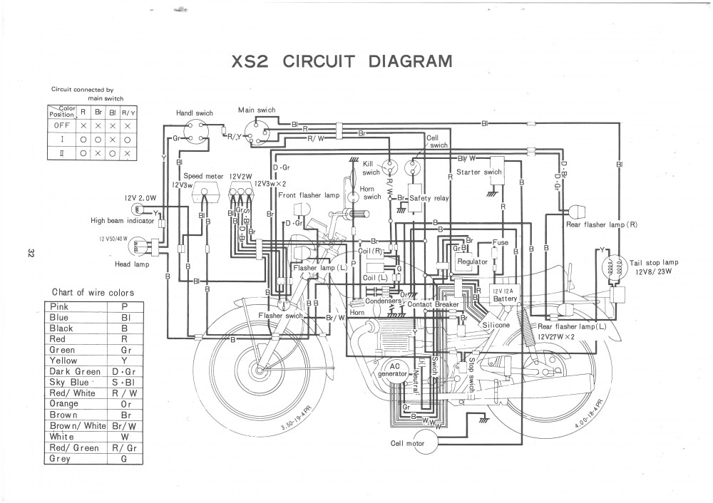 Xs650  72 Xs2  U2013 73 Tx650 Circuit Diagram