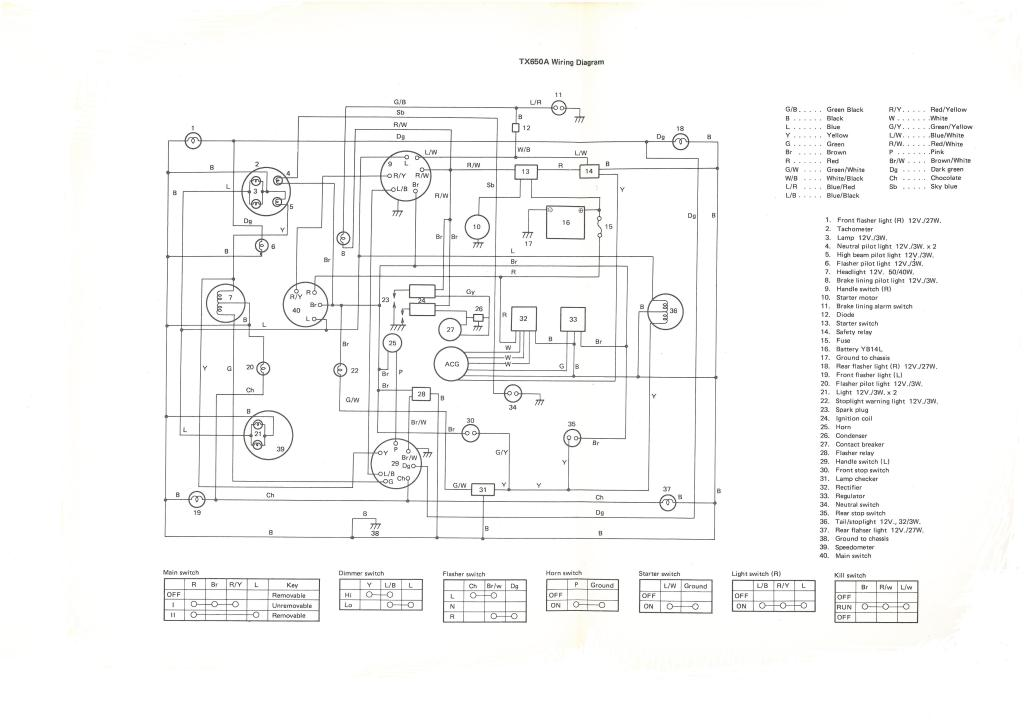 XS650  74 TX650A Wiring Diagram