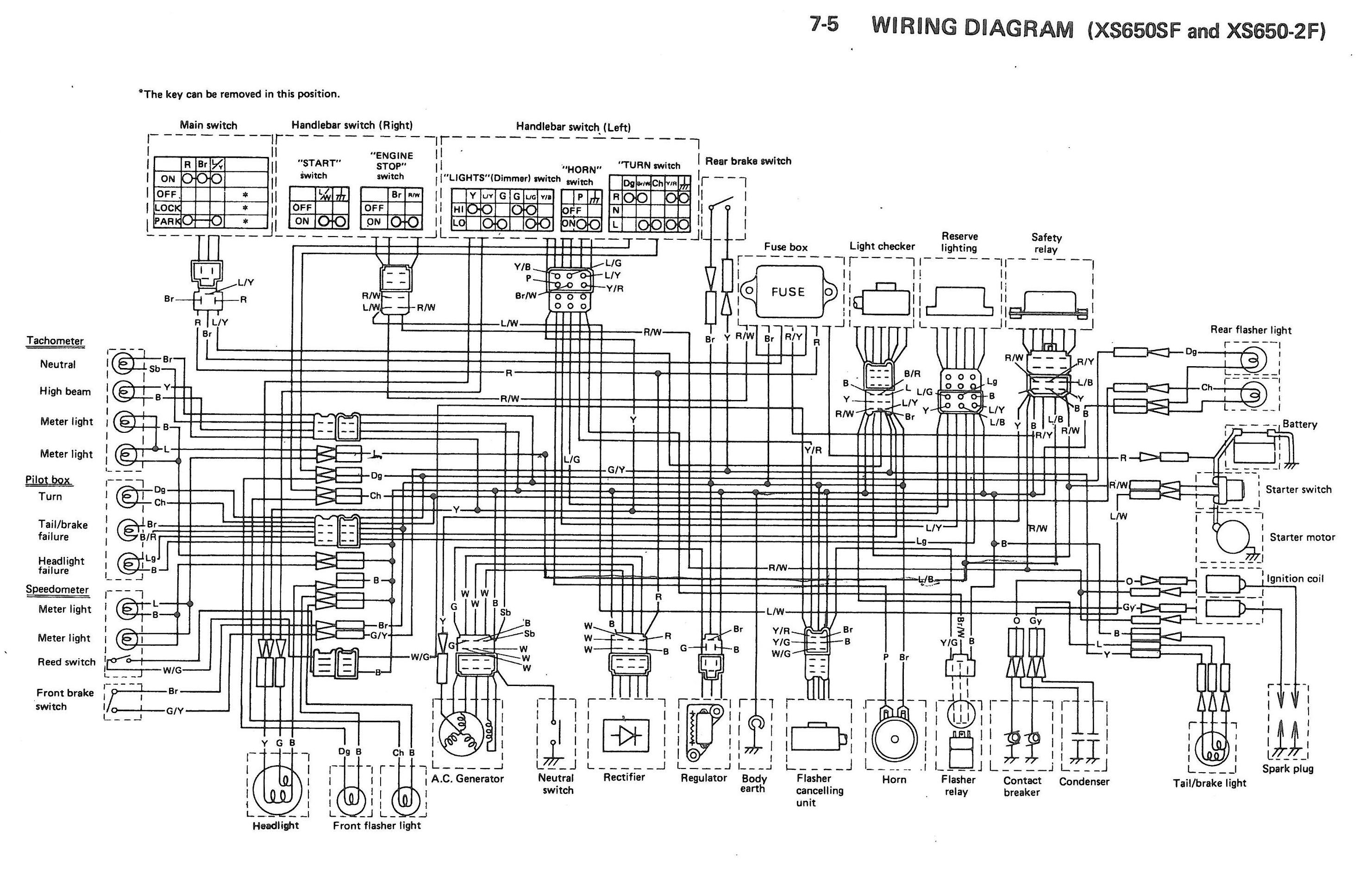 Xs650 Wiring Diagram Color : Xs sf f wiring diagrams thexscafe