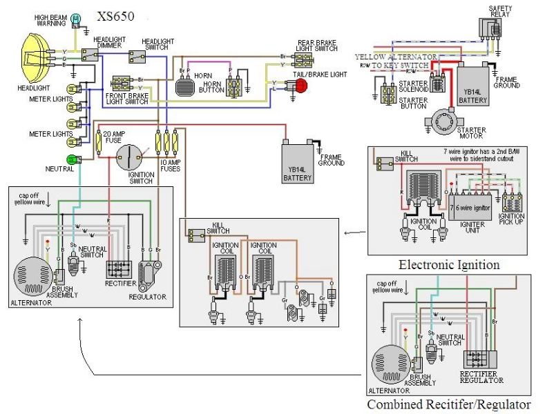 xs650 simplified electrics thexscafe yamaha sr500 wiring-diagram xs650 basic wiring diagram #4