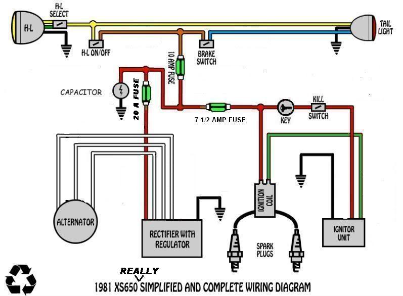 xs650: simplified electrics | thexscafe harley wiring diagrams simple