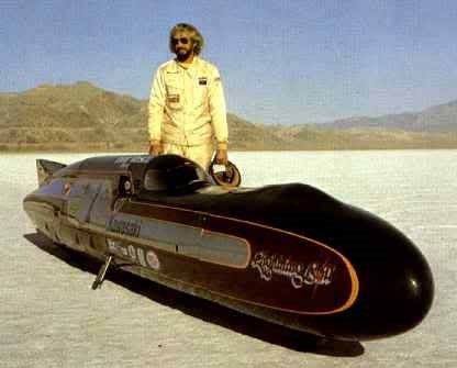 12 .. August 28, 1978. Don Vesco averaged 318.598 mph on Lightning Bolt. 21-foot streamliner. Two 1016cc turbo'd Kawasaki KZ1000 engines. Speed eluded him for weeks. Scored some high speed gears and clutch parts salvaged from World War II aircraft at neighboring Wendover Airforce Base. Inside 4 days they'd pushed the streamliner to two record-breaking runs. 315.441 and 318.598. mph. Stood nearly 12 years