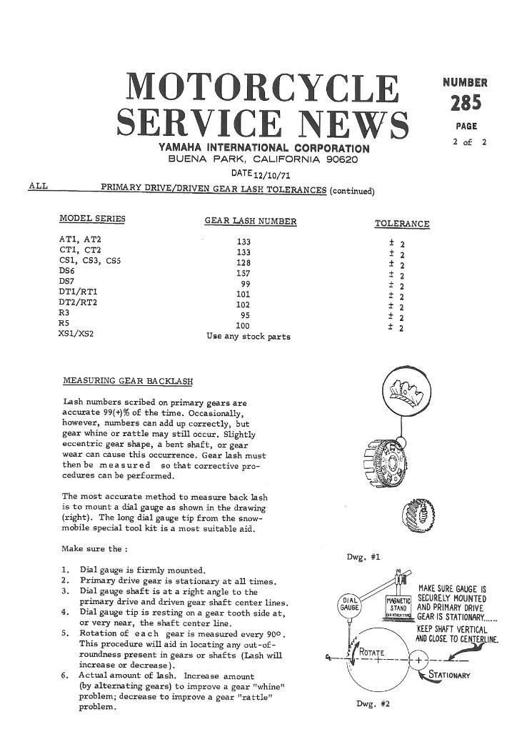 2 .. 285-2 ... primary gear lash tolerances