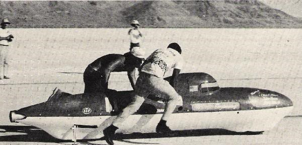 3 .. brother-in-law Scott Foster and brother Chuck pushing streamliner off the starting line
