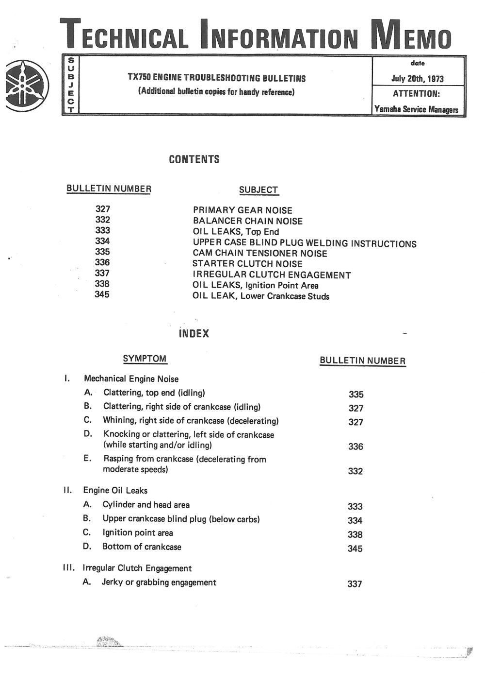 Xs650 Tx750 Service And Parts News Thexscafe Tsubaki Wiring Diagram Tech Info Memo 20 Jul 1973