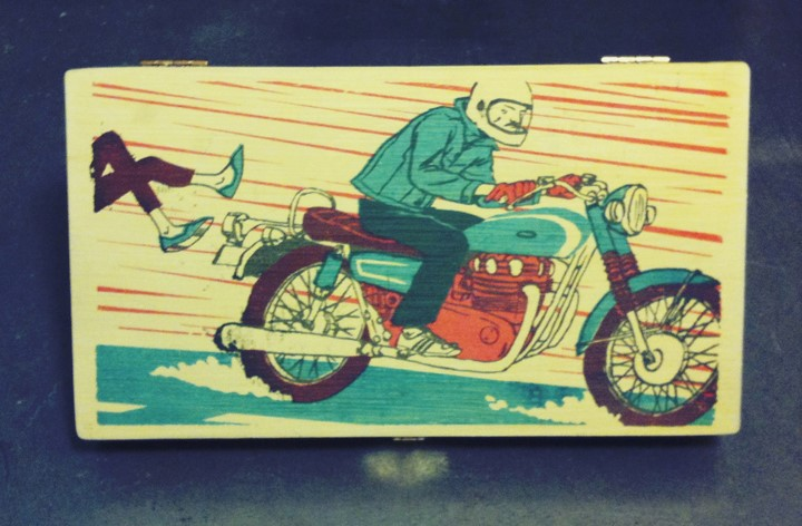"""Cigarbox - XS650 ... silkscreened on cigar box ... Gary Musgrave ... This box has my XS650 and is about saying """"So long"""" to some old hat."""