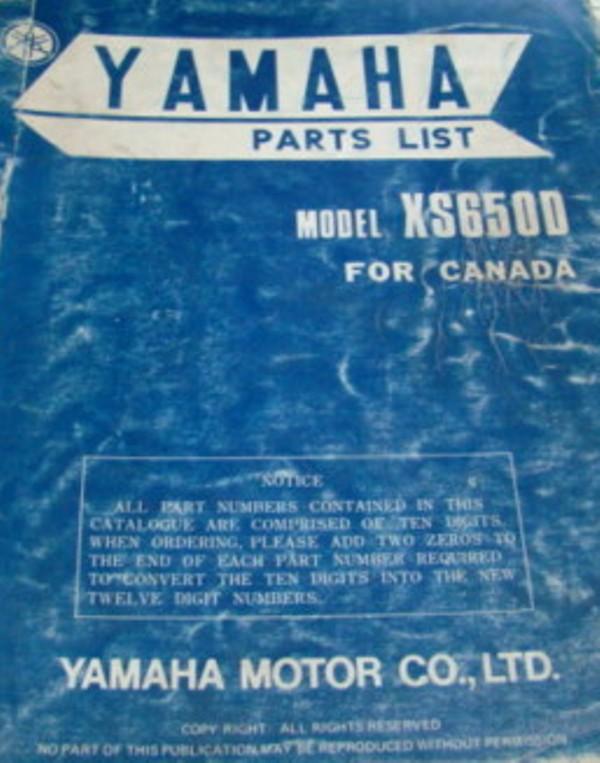 XS650D Canada parts list