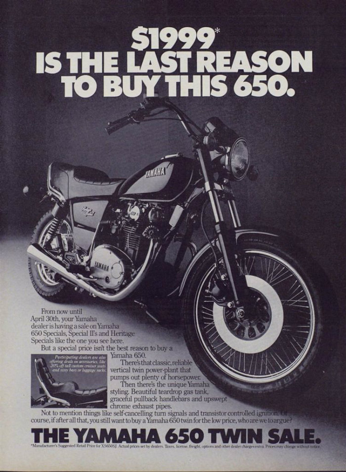 10 .. Yamaha 650 Heritage ad from Playboy